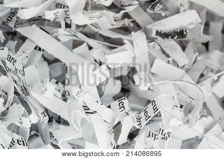 shredded paper closeup
