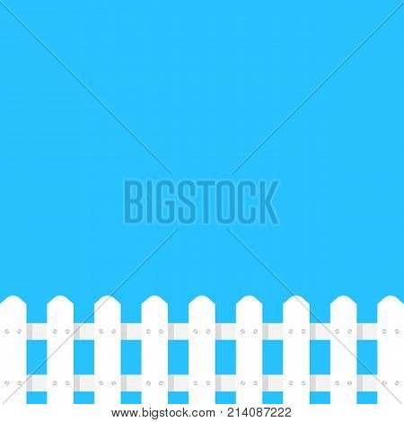 white fence garden simple template. concept of architecture, rural construction shape, defense post, hillbilly sign, house protect. flat style trend modern graphic art design on blue background