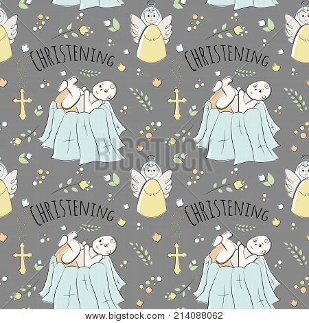 seamless pattern of elements drawn manually in the style of doodle. Christening, infant, religion, church. Used for wallpapers, backgrounds, wrapping paper.