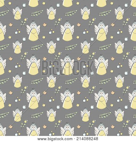 seamless pattern of elements drawn manually in the style of doodle. Christening, angel, religion, church. Used for wallpapers, backgrounds, wrapping paper.