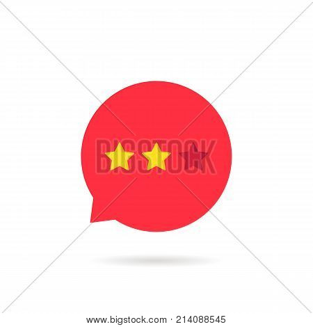 two rating star like neutral feedback. concept of status bar element, classification scale ranking, recall performance, no good. flat style trend modern logotype graphic design on white background
