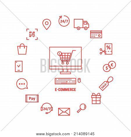 thin line red icons for e-commerce. concept of website shop, market geoloc shipping, 24 7 chat tag and qr code scan. flat linear ui logo graphic art banner design illustration on white background