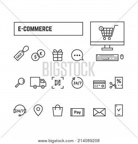 thin line black set icons online shopping. concept of linear website, market geoloc shipping, 24 7 chat tag, qr code scan ui. flat style logo graphic art banner design illustration on white background