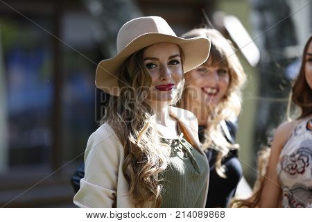 Belarus the city of Gomel June 15 2017. Chabarok restaurant birthday celebration project new style.Beautiful woman in cowboy hat.American woman. Girl cowboy