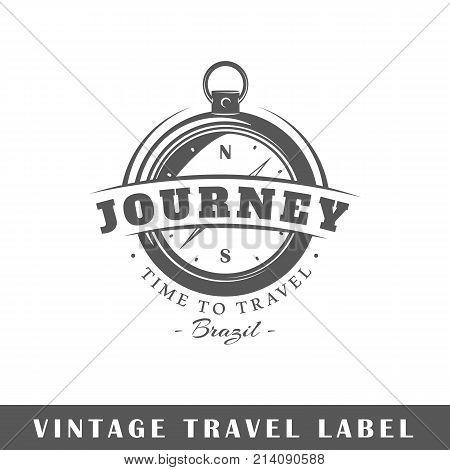 Travel label isolated on white background. Design element. Template for logo signage branding design. Vector illustration poster
