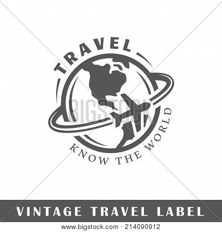 Travel label isolated on white background. Design element. Template for logo signage branding design. Vector illustration poster