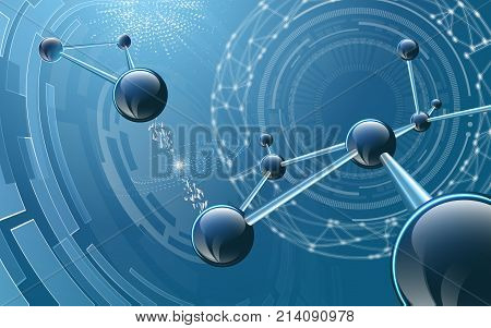 Vector illustration including physical molecular structure. Sphers elements on glowing blue background. Used a clipping and opacity masks.