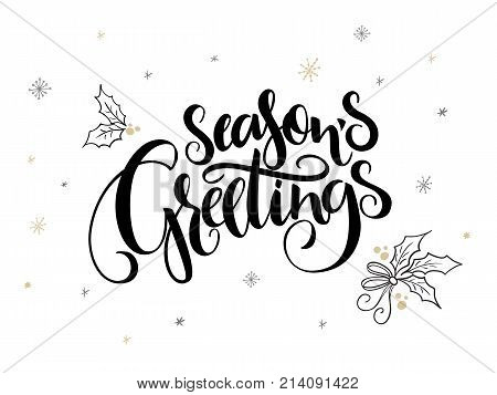 vector hand lettering christmas greetings text - season's greetings - with holly leaves and snowflakes.