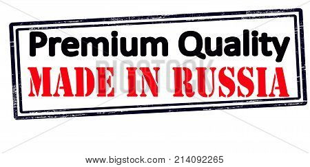 Rubber stamp with text premium quality made in Russia inside vector illustration