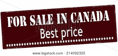 Rubber stamp with text for sale in Canada best price inside vector illustration