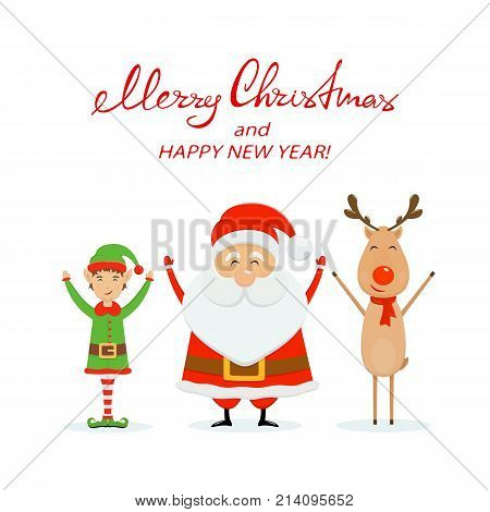 Happy Santa Claus with little elf and reindeer. Text Merry Christmas and Happy New Year on white background, illustration.