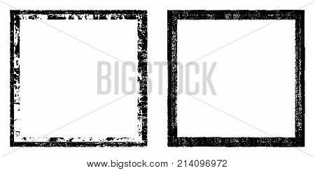 Vector Square, Black Frame With Elements Distress, Dirt Texture. Grunge Effect. Border Set .