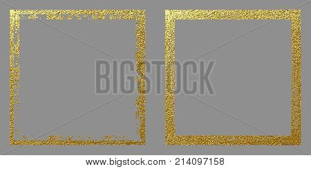 Square Golden Frame On A Grey Background. Abstract Gold Vector Illustration.