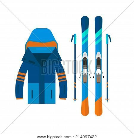 Winter Sport Icons Jaket And Skiing. Skiing And Snowboarding Set