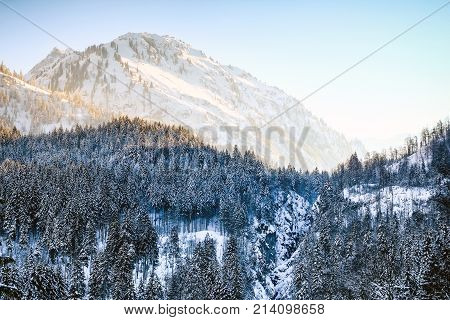 Sunrise in snowy winter mountains and woodland. Allgaeu Alps, Bavaria in Germany.