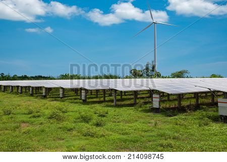 Solar panels in solar farms with wind turbine blue sky background