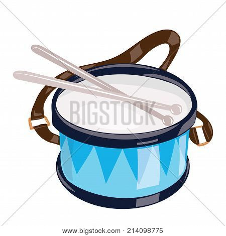 Cartoon drum on a white background. Toy musical instrument for children. Colorful vector illustration for kids. Art.