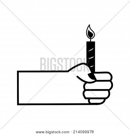 contour hand with candle fire decoration design vector illustration