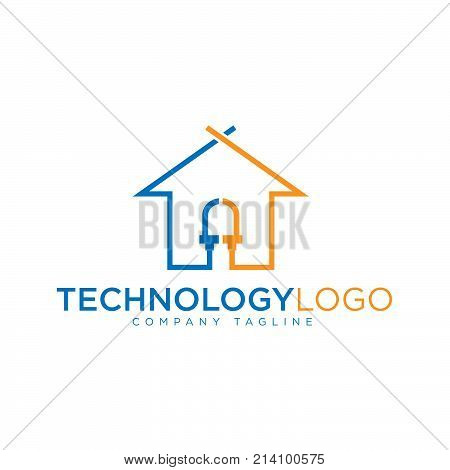 Technology house - vector logo concept illustration for corporate identity. Network logo sign. Internet logo sign. Web logo sign. Tech logo. Vector logo template. Design element.