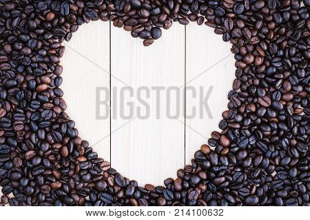 Heart-shaped Background Made Of Coffee Beans