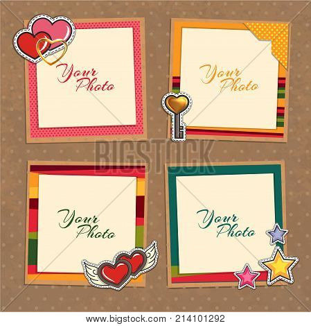 Decorative vector template frame. This photo frame you can use for kids picture or memories. Scrapbook design concept. Insert your picture.