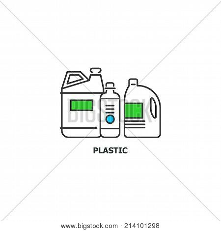 Waste plastic recycle concept icon in line design, vector flat illustration isolated on white background.