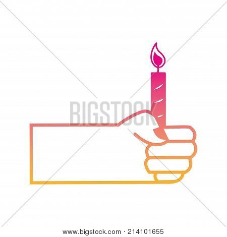 silhouette hand with candle fire decoration design vector illustration