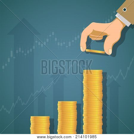 Human hand puts gold coins by a stack. Growth of profit and revenue. Graph and chart of dividends. Stock vector illustration.