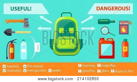 Useful and dangerous objects on informative fire-related poster. Vector illustration of backpack, hatchet with extinguisher, shovel and gasoline