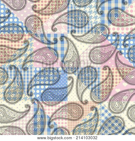 Seamless background pattern. Patchwork pattern with paisley.