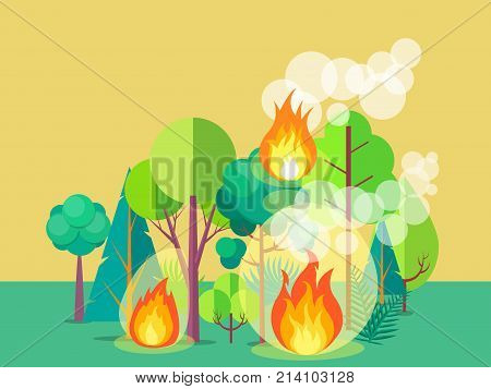 Poster of raging wildfire. Vector illustration of forest burning fiercely with bushes, trees aflame and a lot of smoke against light brown background