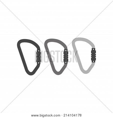 Winter sport icons of carabine. Skiing and snowboarding set equipment isolated on white background in flat style design. Elements for ski resort picture mountain activities vector illustration.