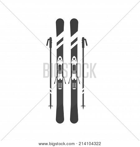 Winter sport icons skiing and sticks. Skiing and snowboarding set equipment isolated on white background in flat style design. Elements for ski resort picture mountain activities vector illustration.