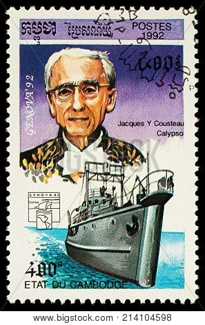 Moscow Russia - November 16 2016: A stamp printed in Cambodia shows French ocean explorer Jacques Cousteau and his ship