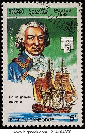 Moscow Russia - November 12 2017: A stamp printed in Cambodia shows Louis de Bougainville (1729-1811) and his ship