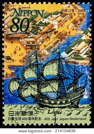 Moscow Russia - November 13 2017: A stamp printed in Japan shows ancient Dutch ship Liefde in Nagasaki Bay series