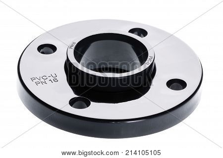 The PVC - U flange is isolated on white background.