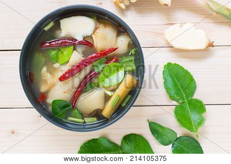 Spicy Pork Knuckle Soup With Kaffir Lime Leaves In Black Bow