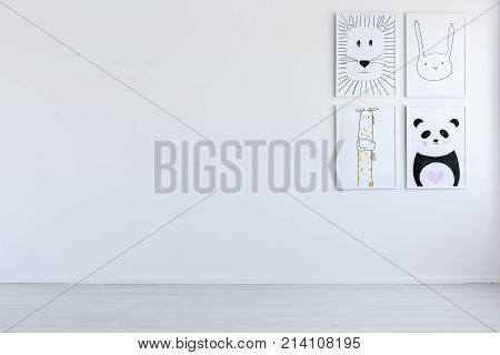White Open Interior With Drawings