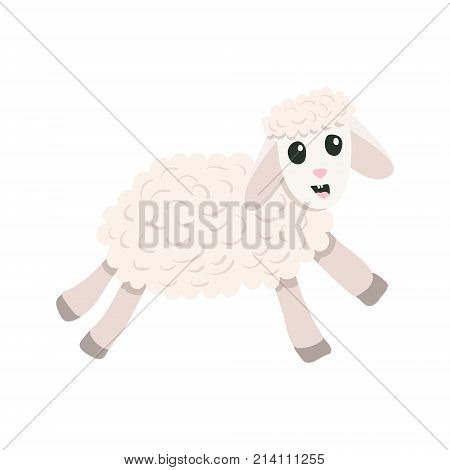 Vector flat cartoon style cute sheep jumping forward. Christmas symbol. Isolated on white background