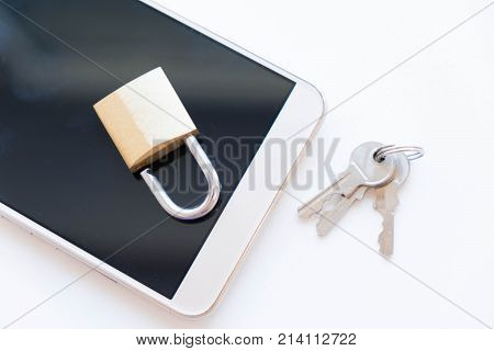 Telephone with lock, concept of protection of personal information. mobile phone security. chained smartphone. Security of smartphone. Low key lock, internet security smartphone data theft concept