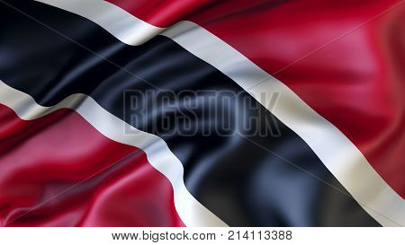 Waving flag of Trinidad and Tobago, Patriot of Trinidad i Tobago,  illustration, 3d