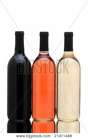 Three wine bottles with reflections isolated on a white background.