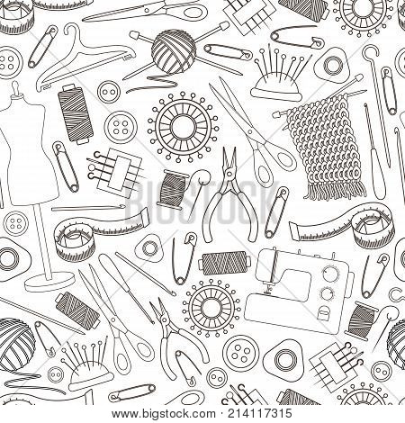 Seamless pattern of tools for needlework and sewing. Handmade equipment and needlework accessoriesy line cartoon illustration. Vector