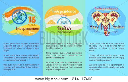 Indian Independence Day posters with big descriptions, national flag, elephant in patterns, Taj Mahal and lotus silhouettes vector illustrations.