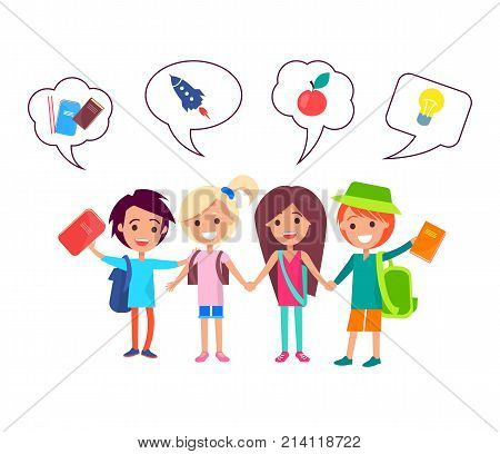 Happy school boys and girls with backpacks, hardcover books holding each other hands and small icons above them isolated vector illustration.