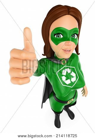 3d environment people illustration. Woman superhero of recycling with thumb up. Isolated white background.