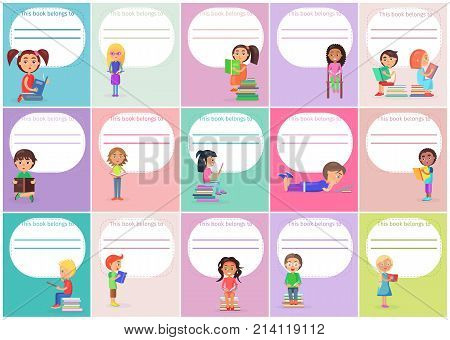 Concept of templates this book belong to with readind kids standing, sitting, lying and holding color textbook vector illustrations.