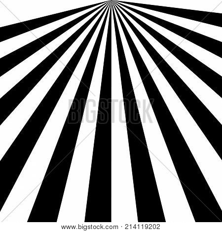 Black and White Sun Rays, Beams Element, Sunburst Pattern, Starburst Shape on White Background. Radiating, Radial, Merging Lines, Abstract Circular Geometric Shape poster