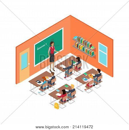 School room with teacher near blackboard and children sitting at desks. Vector illustration of classroom with orange walls and shelves with book on, teacher asking homework and boy rising his hand